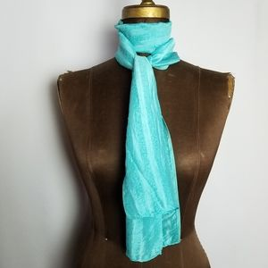 ⚘Vintage Tiffany blue 100% silk oblong scarf